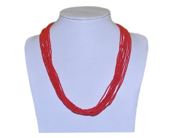 Beautiful  Red Multi-Strand Seed Beads Necklace with gold plated findings, Nepal