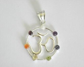 7 Chakra stone set Om pendant