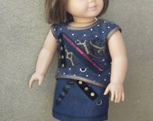 """American Girl Doll Clothes - DOLL SKIRT OUTFIT for American Girl Doll & 18"""" Vinyl Doll. By The Trendy Doll."""