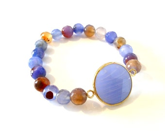 Blue Jade and Gem Bracelet