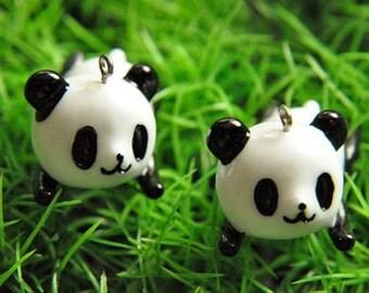 6pcs lovely   resin panda    Cabochons  pendant finding