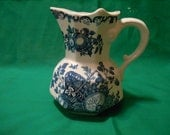 """One (1), 5 3/8"""" Tall, Pitcher, from Mason's of England, in the Fruit Basket,  Blue Pattern."""