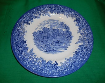 "One (1), 10 3/4"", New/Old Stock, Dinner Plate, from Wedgwood, in the Romantic England-Blue Pattern."
