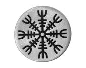 2 Viking Helm of Awe 1 inch ( 25 mm ) Pewter Metal Buttons