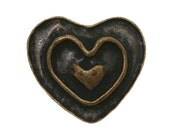 6 Rustic Heart 11/16 inch ( 18 mm ) Dill Metal Buttons Antique Brass Color