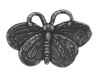 Green Girl Large Butterfly 15/16 inch ( 23 mm ) Pewter Metal Button