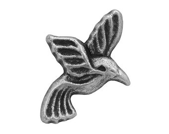 30 Hummingbird 3/4 inch ( 20 mm ) Metal Buttons Antique Silver Color
