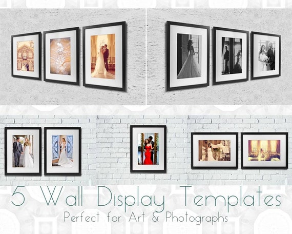 5 wall display gallery templates perfect for by jananartdesign - Photo wall display template ...