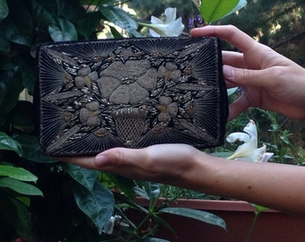 Black Velvet Clutch Vintage Art Deco India Embroidered Bag Indian Embroidery