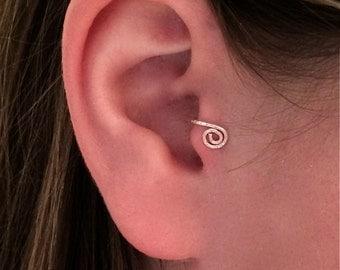 Sterling Silver Spiral Ear Cuff- Tragus Ear Cuff
