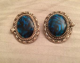 SALE: Sterling Silver Abalone Oval Earrings for Pierced Ears