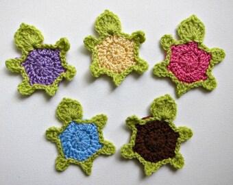 """1pc 3.5"""" Crochet TURTLE Applique"""