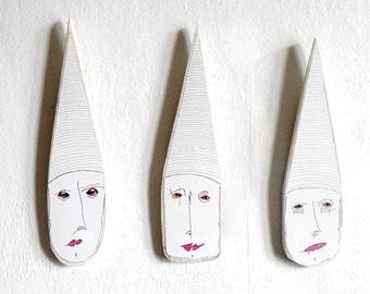 Wall Mask (set of 3) , Mixed media wall mask, Original wall mask, Wall art mask, Wood  Wall Art, Wall hanger art