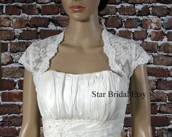 Cap Sleeve Ivory Lace Wedding Bridal Bolero Jacket Shrug S-XXL #BL821