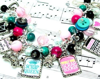 Scrapbooking Themed Charm Bracelet, Love to Scrapbook Bracelet, Picture Charm Bracelet, Scrap Booking