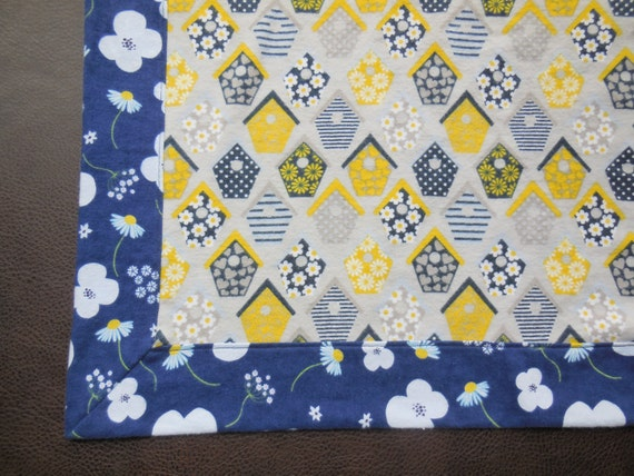 Soft Flannel Receiving Blanket Reversible Self Binding Border in Navy with White Daisy Floral - Yellow, Navy, Gray Birdhouses