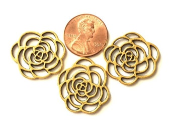 Supply. 3 Roses Flower filigree For jewelry making Gold plated open design Roses. Beads Connectors pendant jewelry Bracelet Necklace on sale