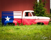 Texas truck, Texas flag, - fine art print, landscape photography, Texas, Hill Country, western, spring, pick-up truck old truck,,flag