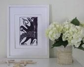 Plum Octopus Linocut Print, Unframed