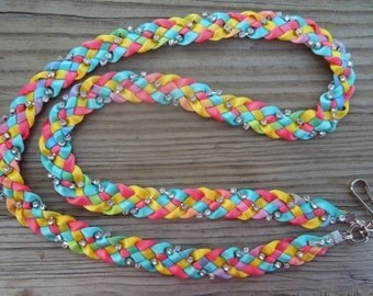 Multicolor Braided Ribbon and Rhinestone Lanyard