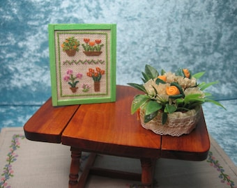 Cross stitch picture with flowers motives, cross stitch miniature picture, hand made miniature - Dollhouses Miniature scale 1:12