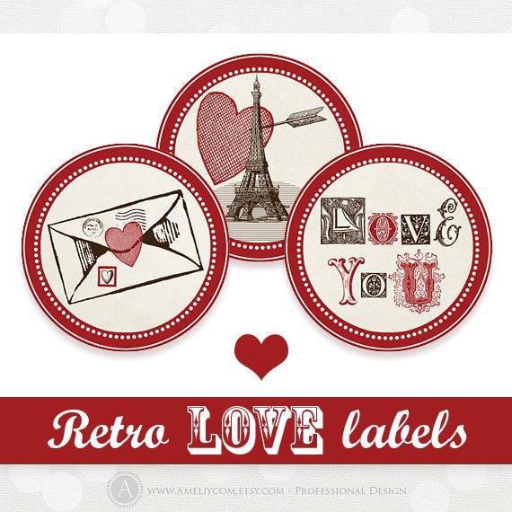 Printable Valentine Day Label Stickers Tag, 12 digital vintage round ...