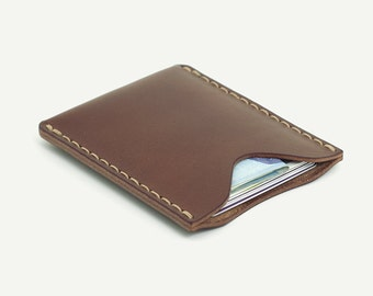 1-Pocket Card Wallet. Brown oily leather; Italian vegetable tanned cowhide.