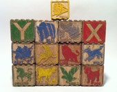 Vintage Wood Hi-Lo Blocks, Toy Wooden Blocks