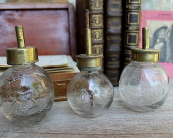 """RARE Small grease pump molded glass and brass """"Michaux Paris"""" French 19th, Antique bottles"""