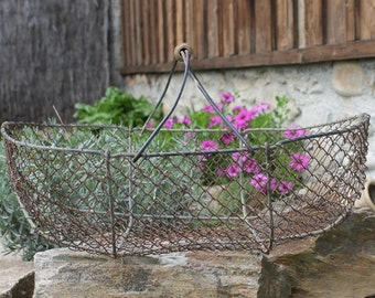 Fabulous and Rare Wire Harvest Basket Antique French  circa 1910, Vintage Gardener Basket, French farmhouse