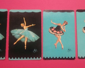 lot of 4 vintage playing cards (2-200) black/aqua ballerinas