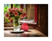 Paris Roses Photo, Romantic Window, Paris Photography, Red Pink Roses, Gift for Her, Bedroom Decor