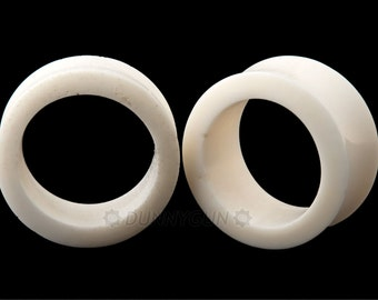 "1"" Pair Bone Hollow Gauged Plugs Organic Hand Carved Body Piercing Jewelry Gauge Earrings"