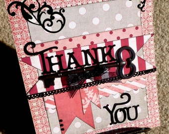 Thank You  Handmade Paper Layering 3D Greeting Card