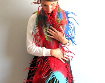 Scarf Felt, Felted Scarf, Nunofelt Scarf, Red Scarf, Fringes Scarf Shawl, Womens Scarf, Womens Shawl Wrap, Red Wall hanging, Home Decor Red