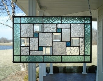 Stained Glass Panel Seafoam Green Window