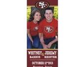 San Fransico 49ers Custom NFL, NBA, NCAA or College Football & Basketball Sports Game Ticket Stub Save the Date Wedding Photo Magnet
