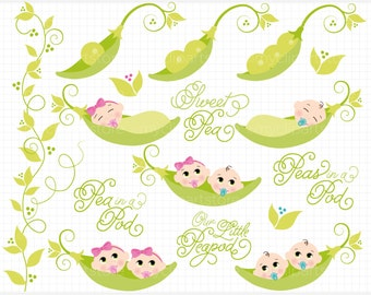 Clipart - Peas In A Pod / Baby Boy / Baby Girl - Digital Clip Art (Instant Download)