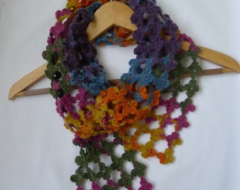 Hand made scarf, crochet scarf, soft colors, women accessories, 260 mini flowers