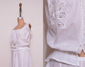 1900s 1910s edwardian camisole top /  Antique white lace corset cover top