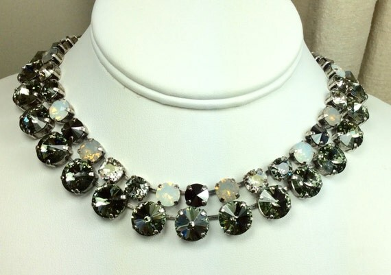 "Swarovski Crystal 12MM Black Diamond Necklace and 8.5mm ""Silver Moonlight"" Neck. - Designer Inspired  - Beautiful & Classy -FREE SHIPPING"