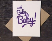 Letterpress Baby Card Funny 80s Ooh Baby Baby Purple