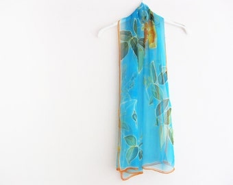 Turquoise silk chiffon scarf hand painted Wedding accessory - made TO ORDER