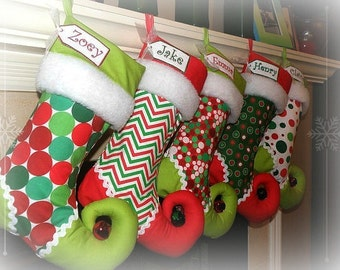 Christmas Stocking personalized elf stocking - SET OF 5