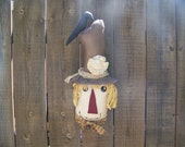 Primitive Large Scarecrow Head And Crow Hanger/Door Greeter Autumn Decor