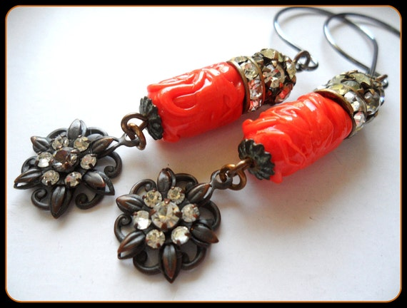 Orange Glass Dangle Earrings, Repurposed Assemblage Earrings Jewelry, Floral Rhinestone Crystal Rustic Primitive Earthy Earrings Jewelry