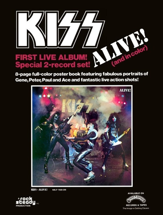 KISS ALIVE Album Sales Promo Reproduction Stand-Up Display - Collectibles Collection Collector Memorabilia Magazine Rock Band Music Gift