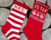 Small Hand knitted Christmas Stockings Red Grey White Yellow Green with snowflakes trees deer  gnomes ornament