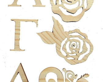 Alpha Gamma Delta wood cut outs for Sorority Crafts and , :Letters, Rose and Squirrel Laser Cut Shapes