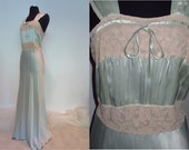 Charmeuse Silk Bias-Cut Nightgown and Bedjacket 'Jean Lindsay, Shanghai'  Label with Glorious Details, Alençon lace